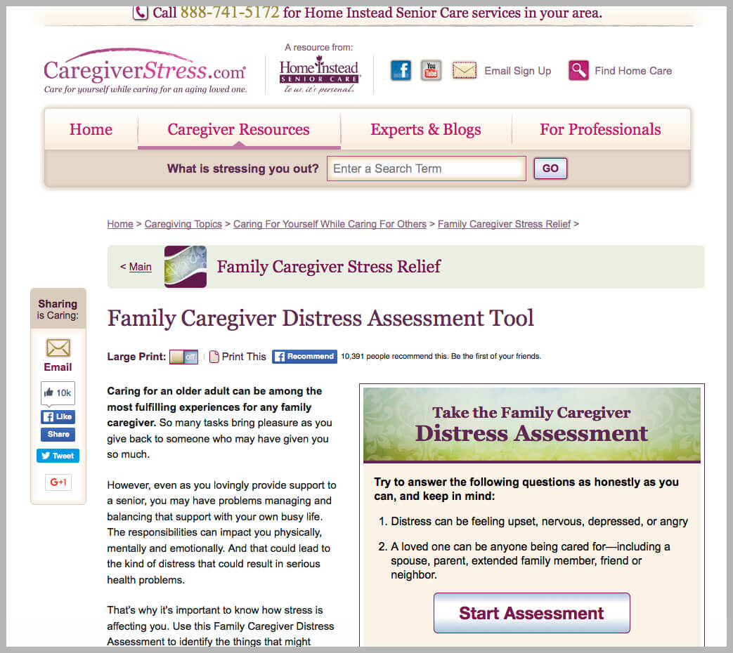 Caregiver Distress Assessment